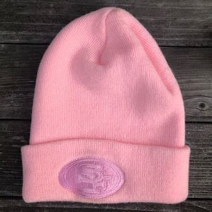 49ers Football Women's or Girl's Pink Beanie NFL